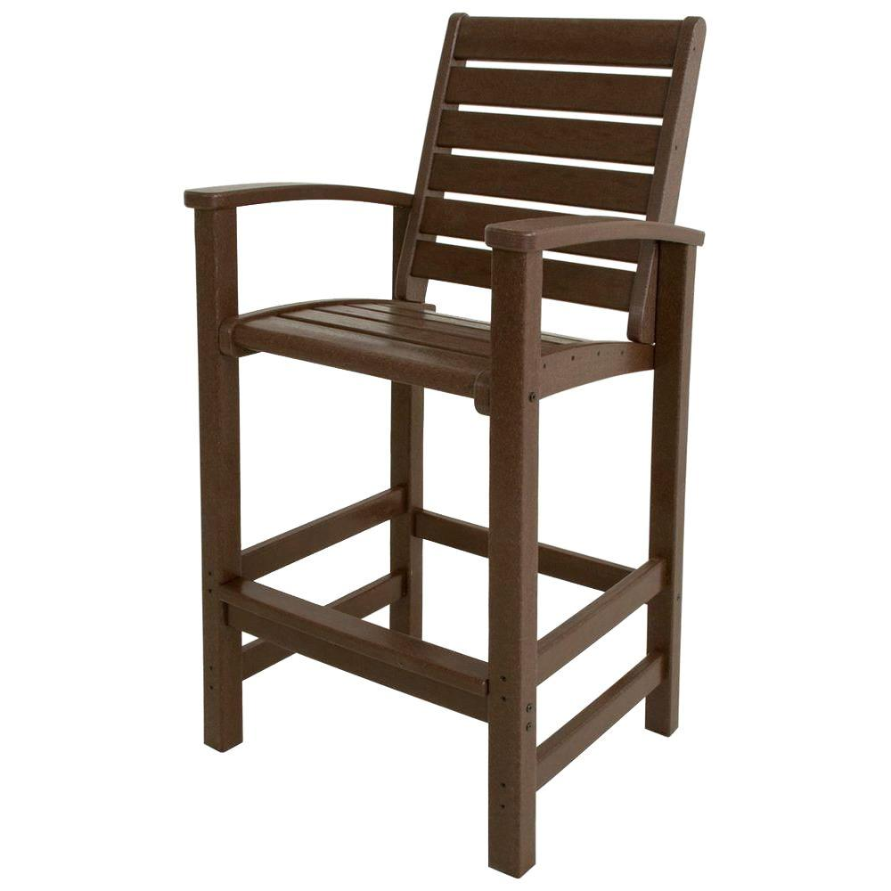 Polywood Signature Mahogany Patio Bar Chair 1912 Ma The