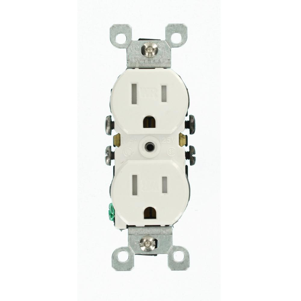Leviton 15 Amp Weather And Tamper Resistant Duplex Outlet White Decora 4way Switch Whiter58056042ws The Home Depot