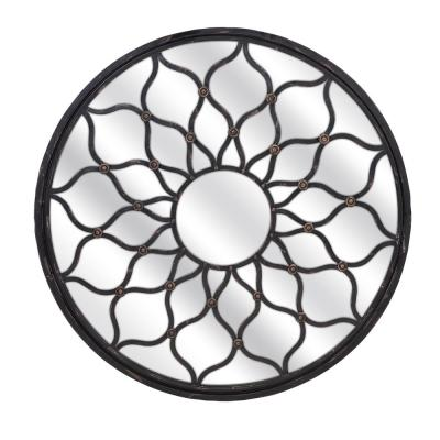 Large Round Distressed Black Antiqued Mirror (41.5 in. H x 41.5 in. W)
