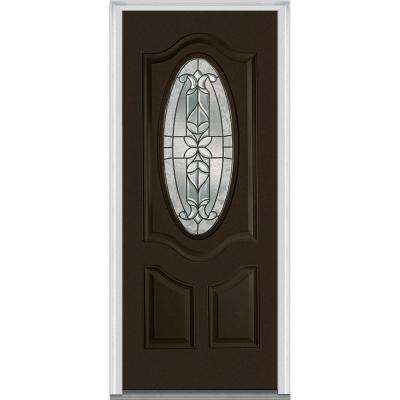 36 in. x 80 in. Cadence Left-Hand Small 3/4 Oval Decorative 2-Panel Painted Fiberglass Smooth Prehung Front Door