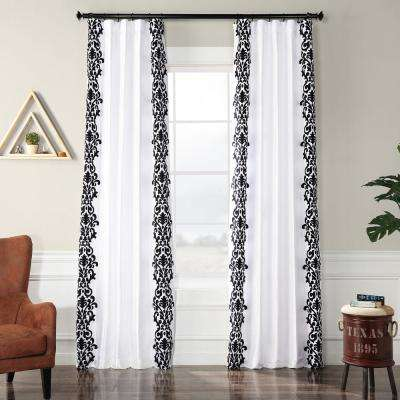 Castle White and Black Flocked Faux Silk Curtain - 50 in. W x 120 in. L