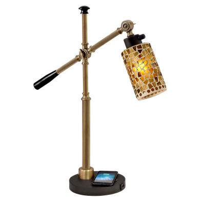 Knighton 23 in. Ebony Black Desk Lamp and Charger with Mosaic Art Glass Shade