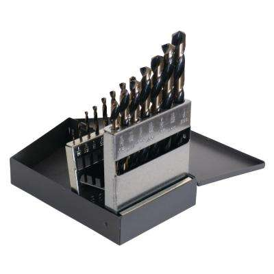 1878 High Speed Steel Black and Gold Heavy-Duty 1/16 in. - 1/2 in. x 32 Bit Set (15-Piece)