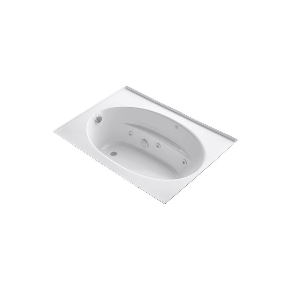 KOHLER Windward 5 ft. Acrylic Oval Drop-in Whirlpool Bathtub in White