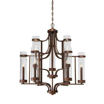 Milan Collection 9-Light Rubbed Bronze Chandelier with Clear Glass