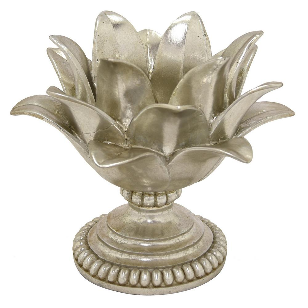Three Hands 75 In Decorative Silver Resin Lotus Flower Votive