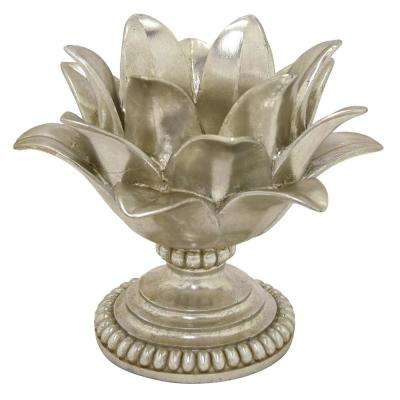 7.5 in. Decorative Silver Resin Lotus Flower Votive Holder in Silver