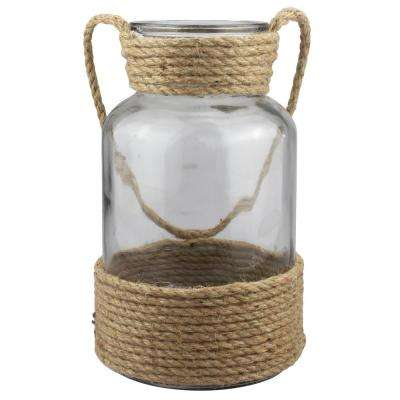 6 in x 10 in. Natural Glass and Rope Container