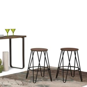 Simpli Home Simeon 24 inch Black and Cocoa Brown Metal Counter Height Stool with Wood Seat by Simpli Home