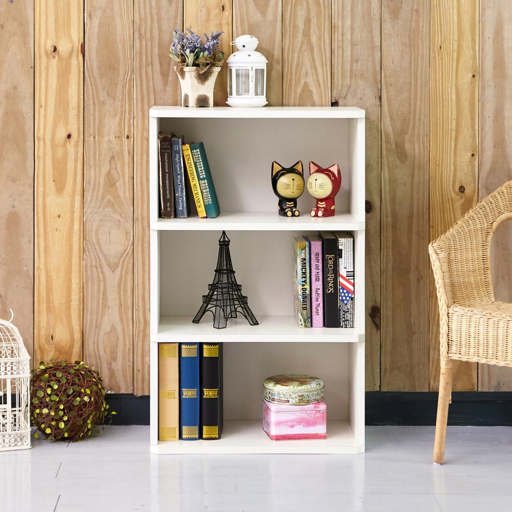Trinity White 3-Shelf Eco zBoard Tool-Free Assembly Bookcase Storage Organizer