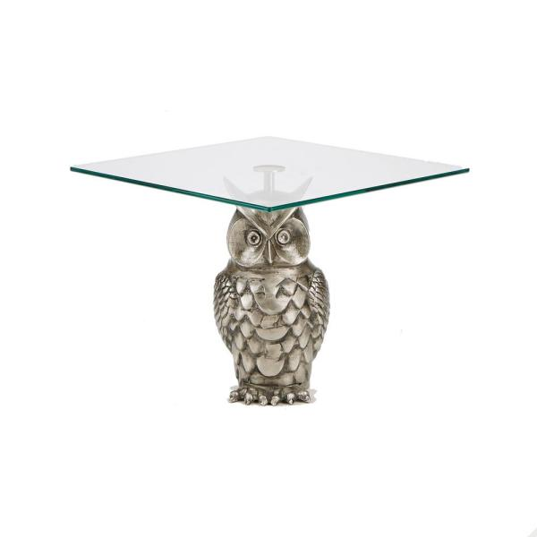 Mind Reader 1-Tier Silver Metal Owl Cake Stand with Tree Tower Display, Stand Tiered Serving Dessert Display Tray