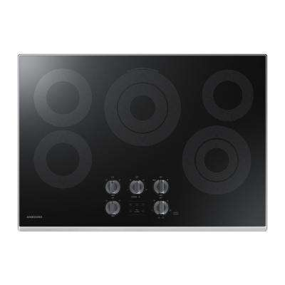 30 in. Glass Surface Electric Cooktop in Stainless Steel with 5 Elements with Rapid Boil and WiFi