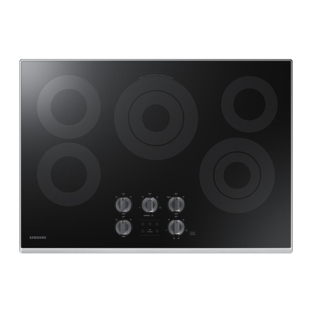 Samsung 30 in. Radiant Electric Cooktop in Stainless Steel with 5 Elements and Wi-Fi