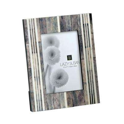 Horn And Bone 1-Opening 5 in. x 7 in. Gray And White Horn And Bone Picture Frame