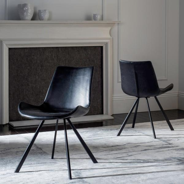 Terra Black Leather Dining Chair (Set of 2)