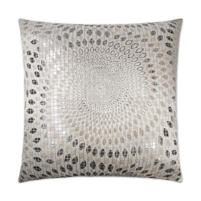 Whirl Silver Geometric Down 24 in. x 24 in. Throw Pillow