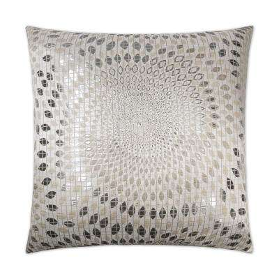 Whirl Silver Feather Down 24 in. x 24 in. Standard Decorative Throw Pillow