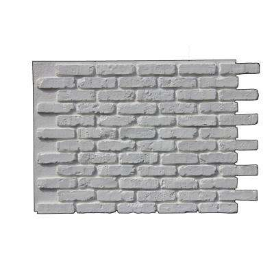 Faux Rustic Brick 47 in. x 32 in. Class A Fire Rated Polyurethane Interlocking Panel in Coconut White