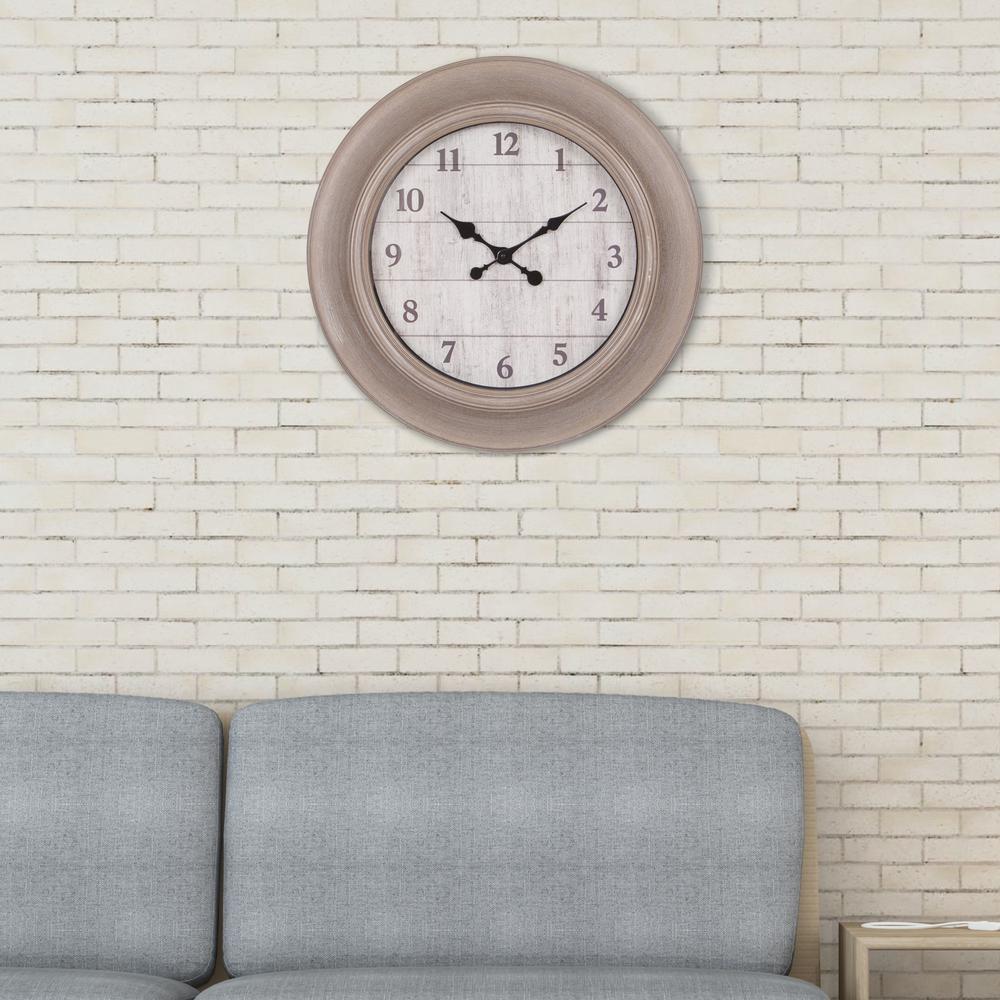 Woodgrain Taupe and Whitewash Wall Clock