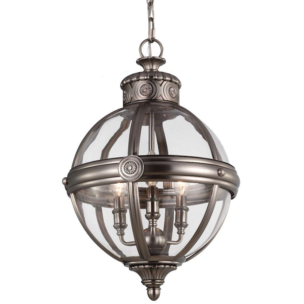Feiss Adams 3-Light Antique Nickel Pendant