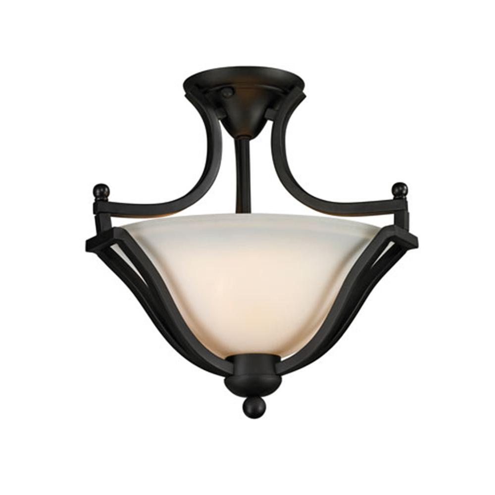 Lawrence 2-Light Matte Black Incandescent Ceiling Semi-Flush Mount Light