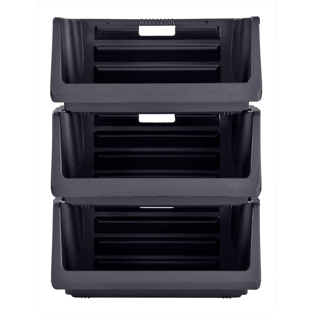 muscle rack stackable storage bin in black 3 pack - Stackable Storage Bins