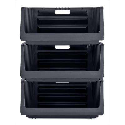 Captivating Stackable Storage Bin In Black (3 Pack)