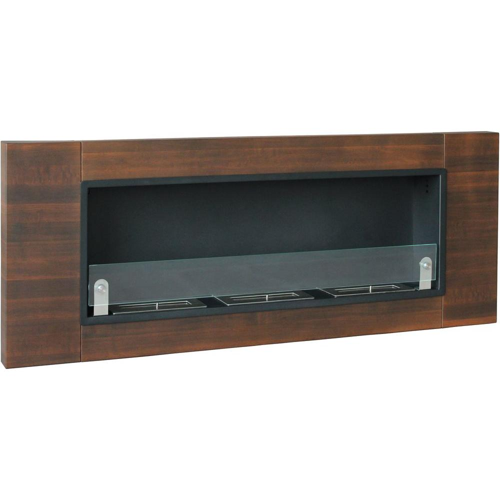 53.5 in. Wide Finestera Tres Vent-Free Ethanol Fireplace in Dark Walnut