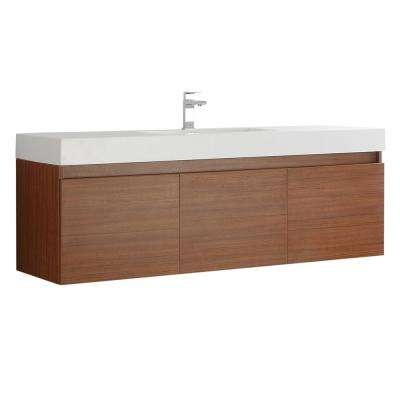 Mezzo 60 in. Modern Wall Hung Bath Vanity in Teak with Vanity Top in White with White Basin