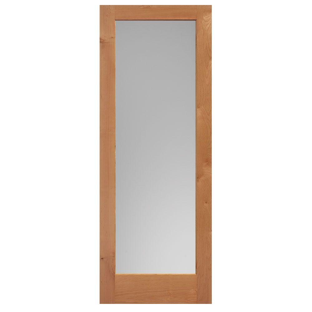 Masonite 40 in. x 84 in. Knotty Alder Veneer 1-Lite Solid Wood Interior Barn Door Slab