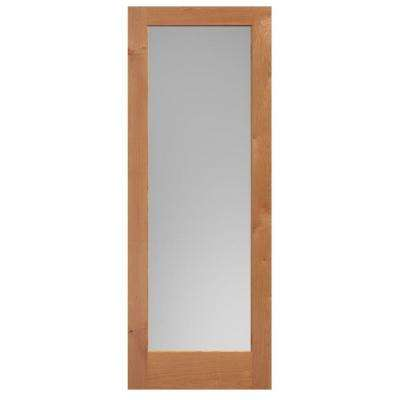 40 in. x 84 in. Knotty Alder Veneer 1-Lite Solid Wood Interior Barn Door Slab