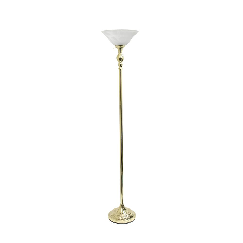 Elegant Designs 71 in  1-Light Gold Torchiere Floor Lamp with Marbleized  White Glass Shade