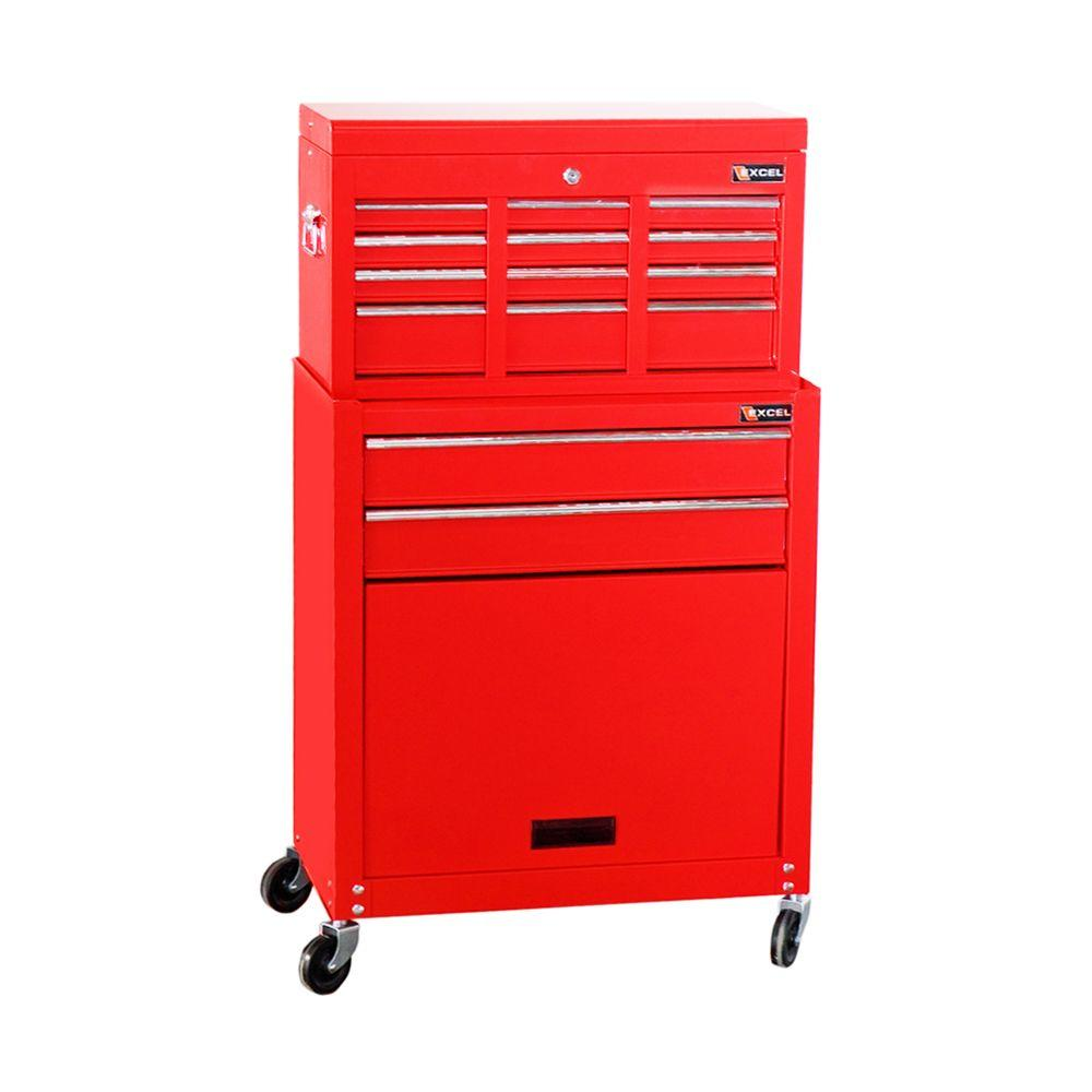 null 24 in. 24.3 in. W x 13 in. D x 42.6 in. H Each Tool Chest and Roller Cabinet Combination in Red