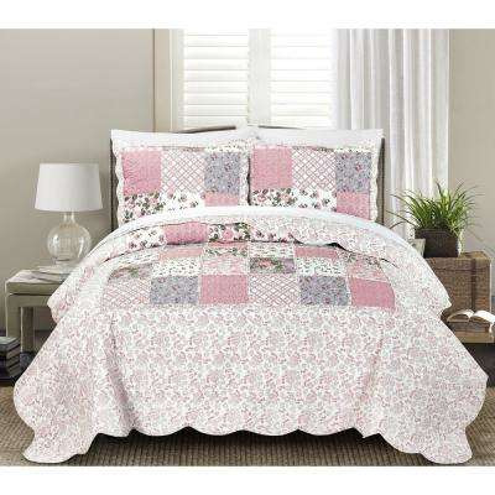 Lyssa 3-Piece Pink Full and Queen Quilt Set