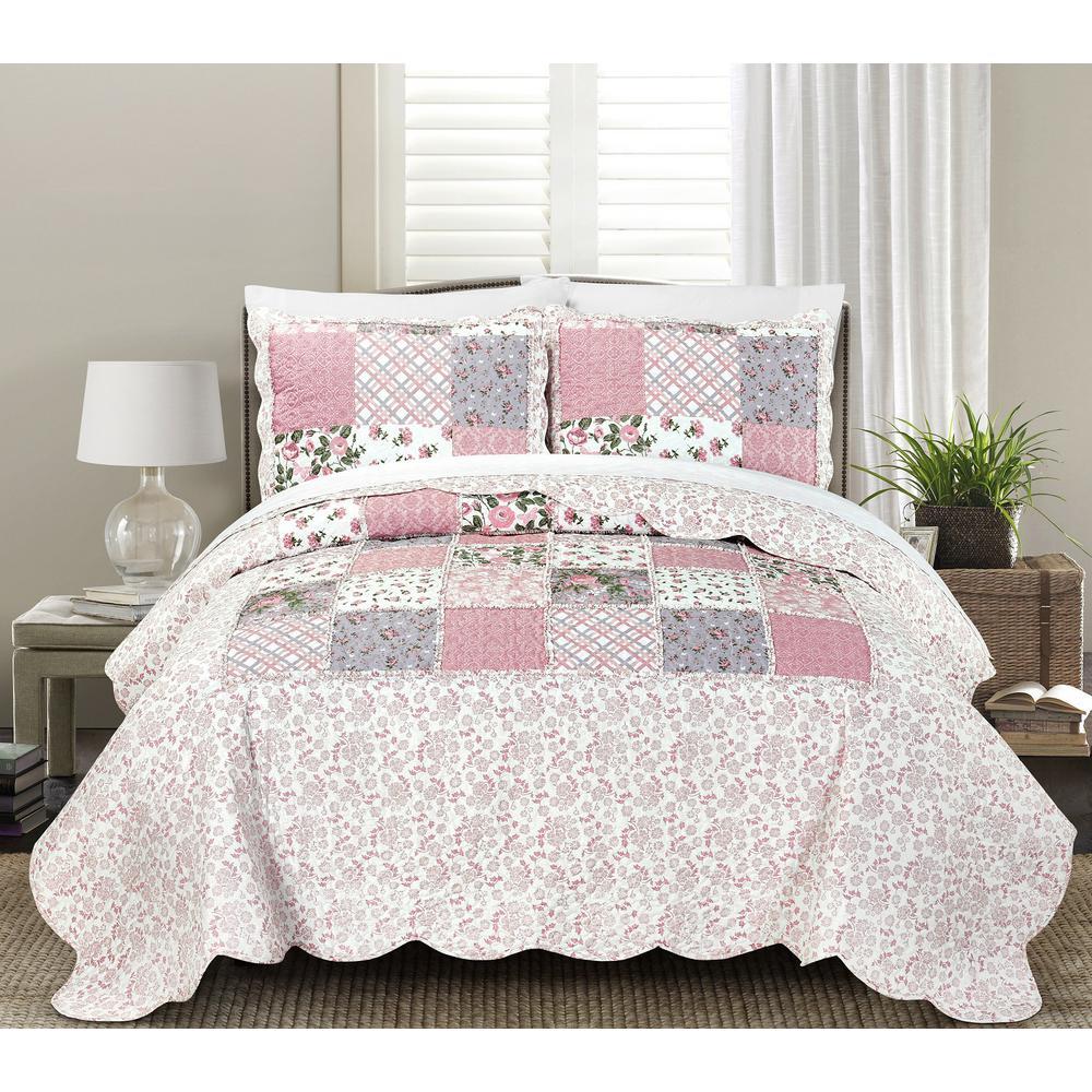 Lyssa 3-Piece Pink King Quilt Set