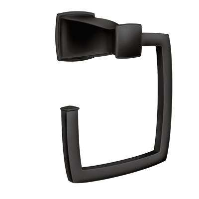 Hensley Towel Ring with Press and Mark in Matte Black