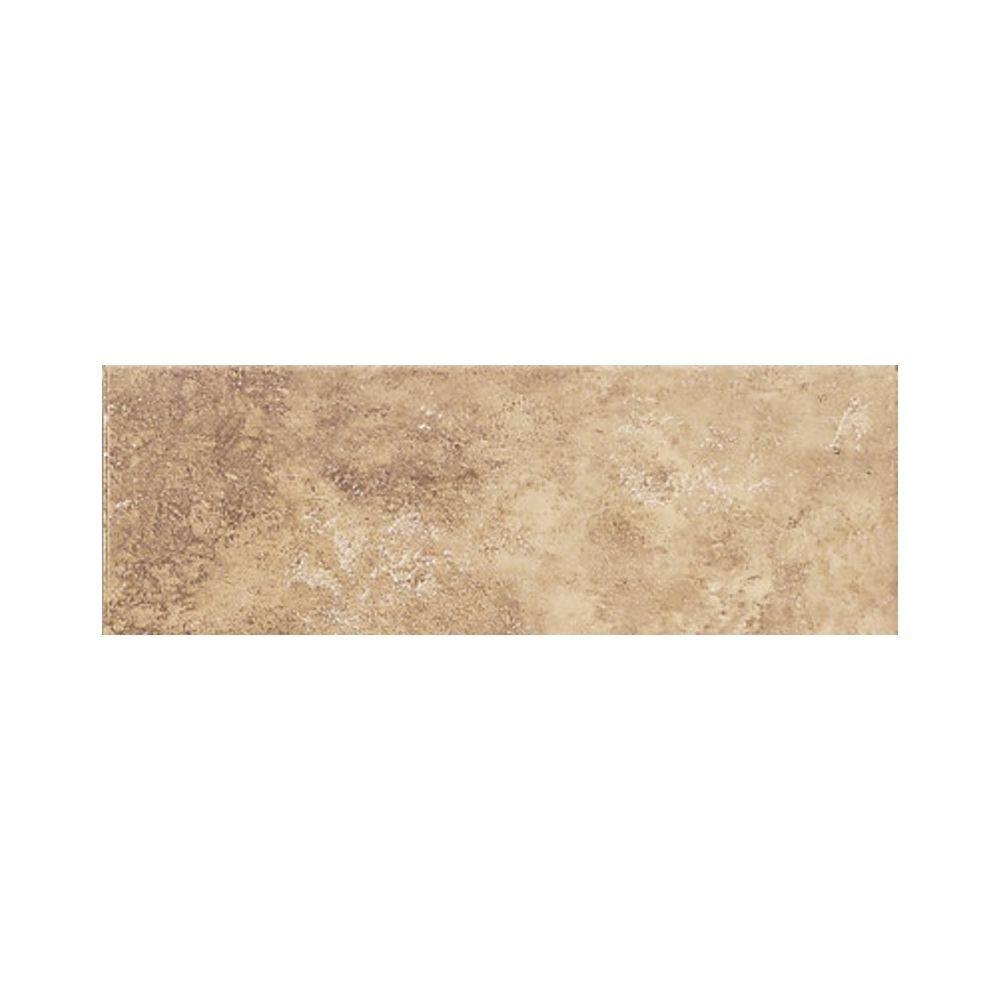 Salerno Marrone Chiaro 3 in. x 10 in. Glazed Ceramic Bullnose Wall Tile