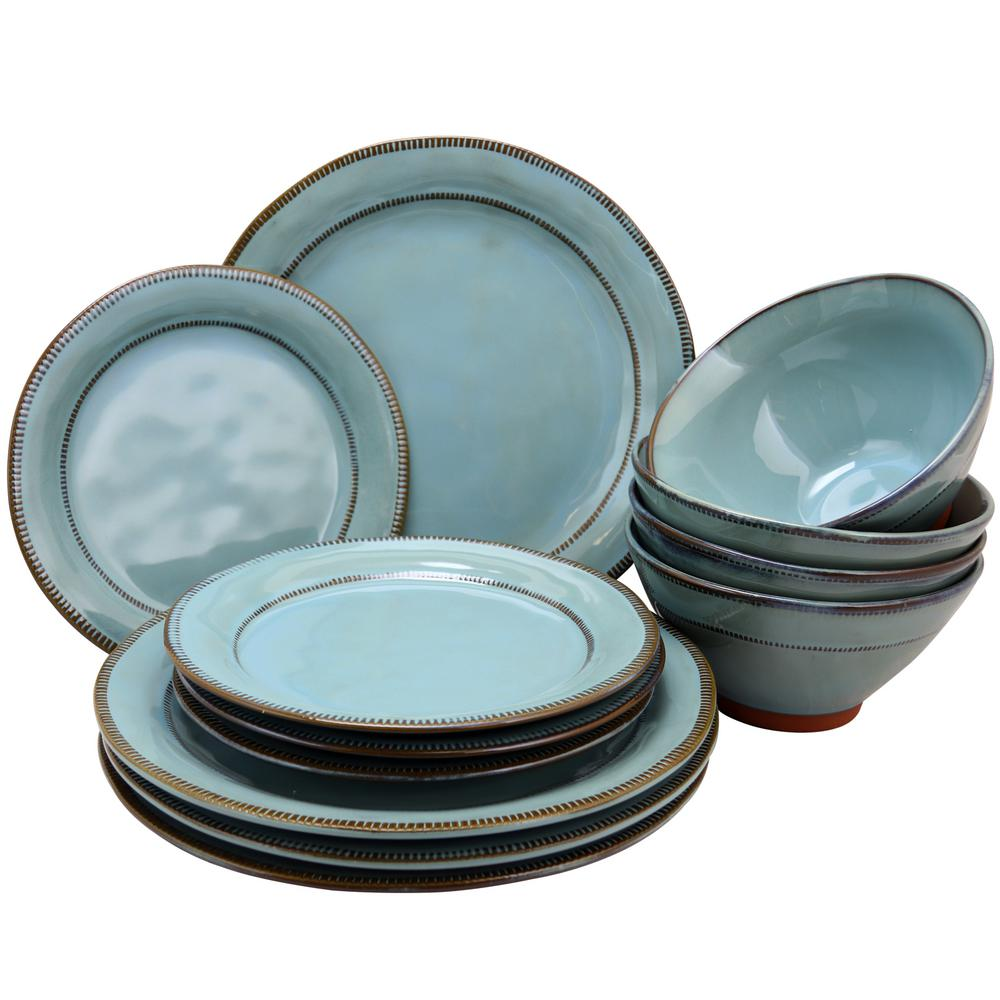 Terranea 12-Piece Country/Cottage Teal Terra Cotta Dinnerware Set (Service for 6)