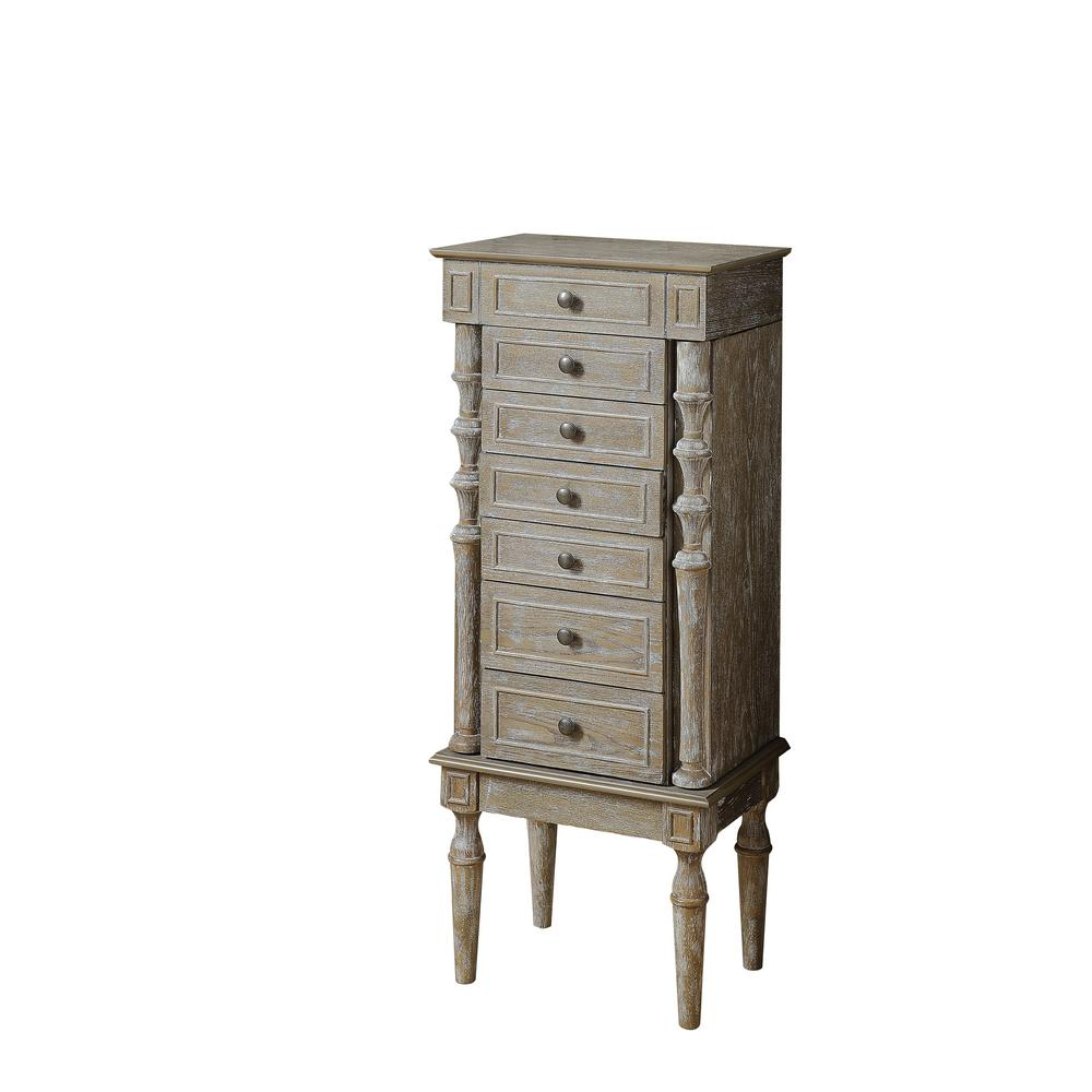 Acme Furniture Taline Weathered Oak Jewelry Armoire