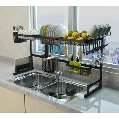 Avery 37.4 in. Black Stainless Steel Standing Dish Rack