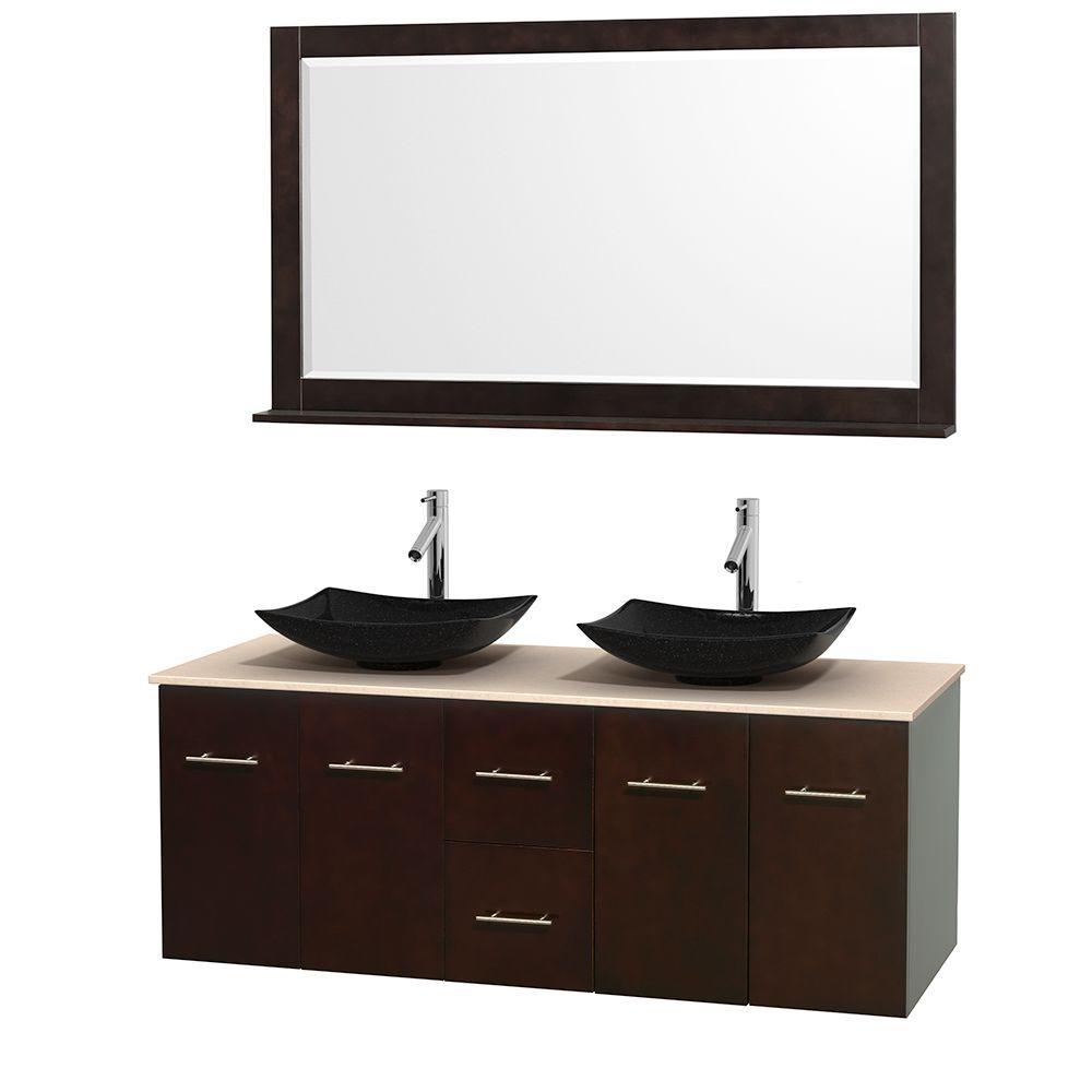 Centra 60 in. Double Vanity in Espresso with Marble Vanity Top