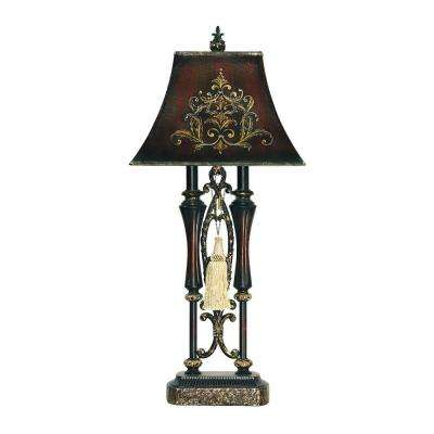 Piquant 31 in. Black Double Tassel Iron Table Lamp