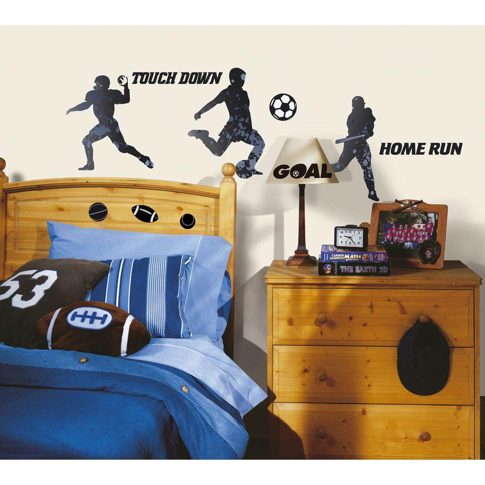 RoomMates 5 in. x 11.5 in. Sports Silhouettes Peel and Stick Wall Decal