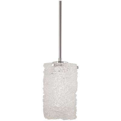 Forest Ice 75-Watt Chrome Integrated LED Pendant with Frosted Glass