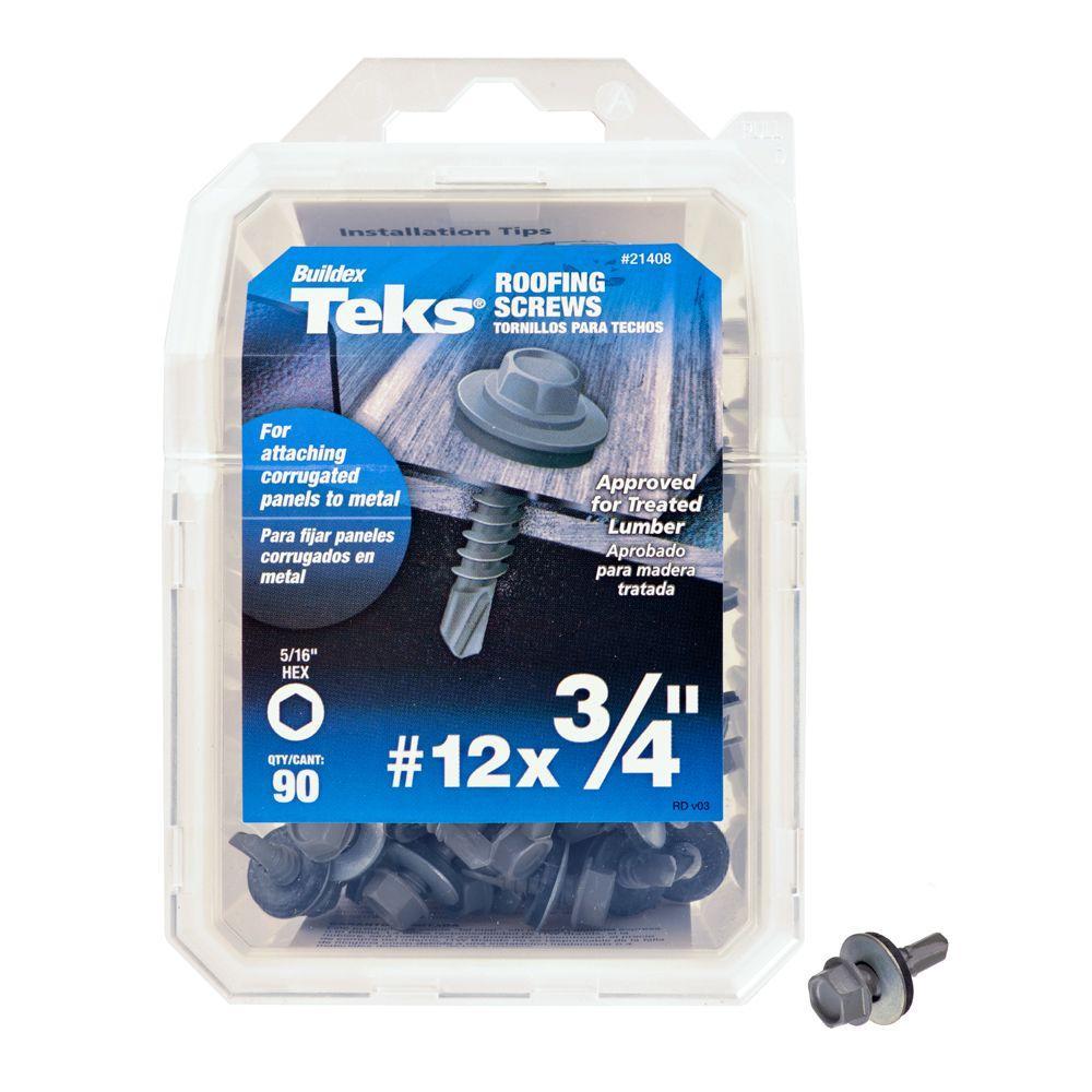 #12 x 3/4 in. Fine Metallic Steel Hex Drill Point Roofing Screw (90-Pack)