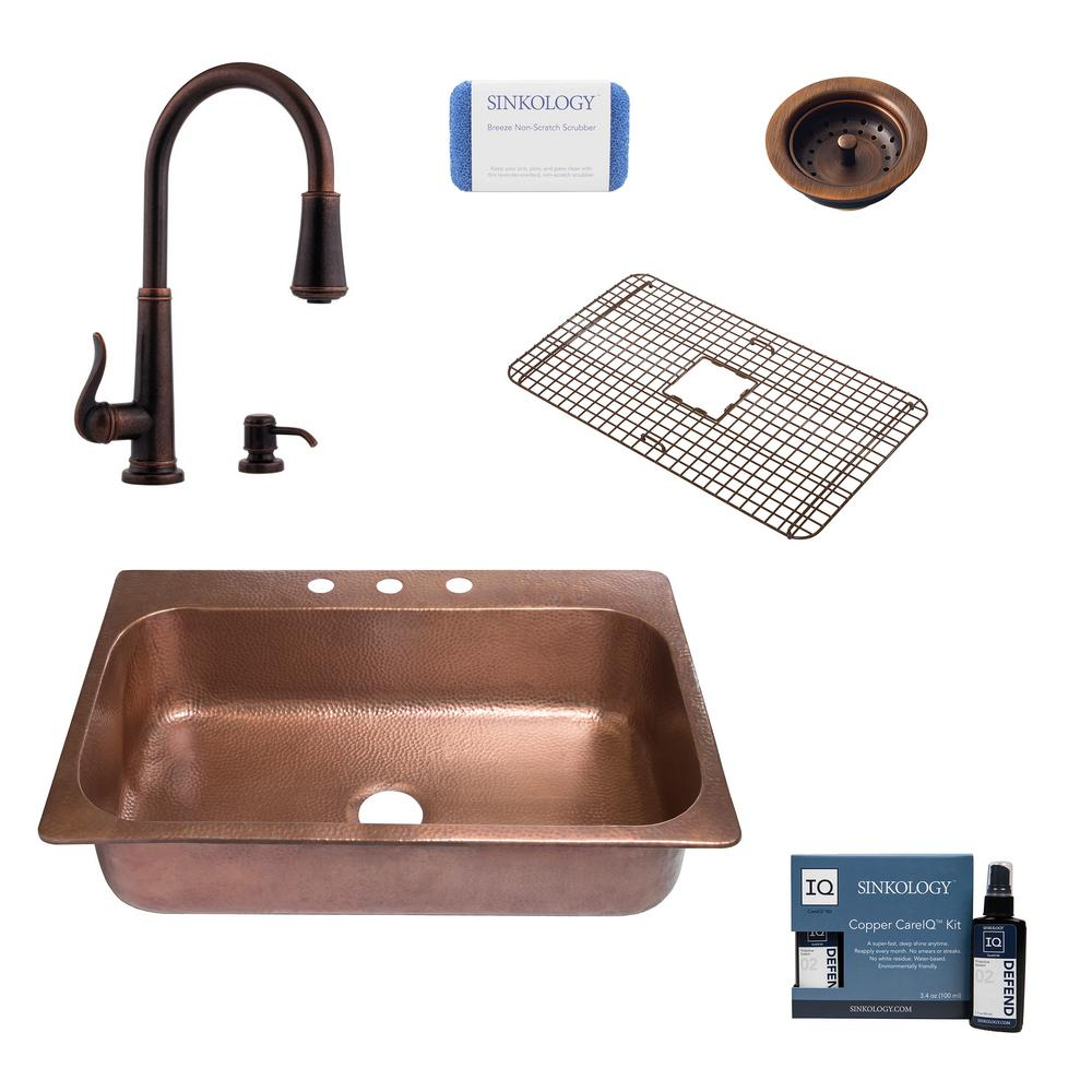 SINKOLOGY Angelico Drop-In Copper All-in-One 33 in. 3-Hole Single Bowl Kitchen Sink with Pfister Faucet and Strainer in Bronze