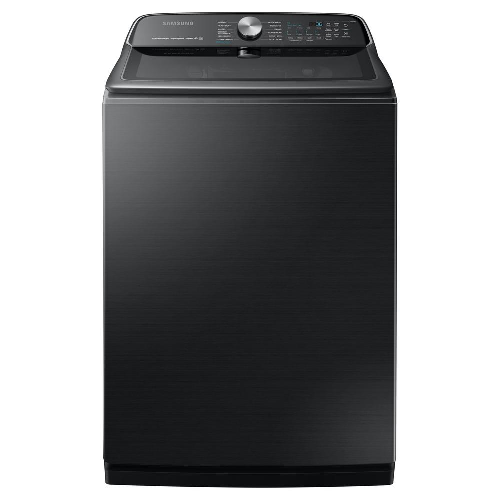 Samsung Samsung 5.4 cu. ft. High-Efficiency Black Stainless Steel Top Load Washing Machine with Super Speed and Steam, ENERGY STAR, Fingerprint Resistant
