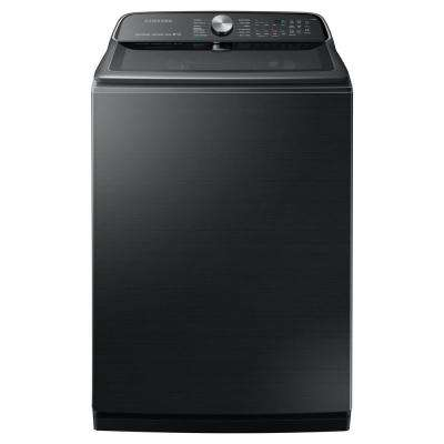 5.4 cu. ft. High-Efficiency Black Stainless Steel Top Load Washing Machine with Super Speed and Steam, ENERGY STAR