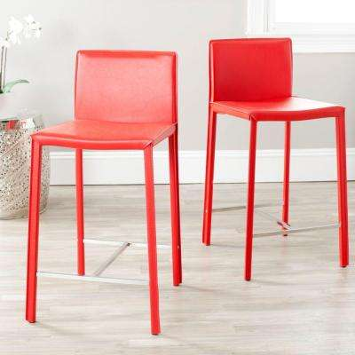 Jason 24 in. Red Cushioned Bar Stool (Set of 2)