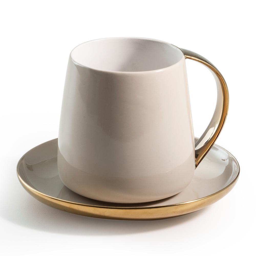 Sausalito 12 oz. Grey/Gold Mug and Saucer Set